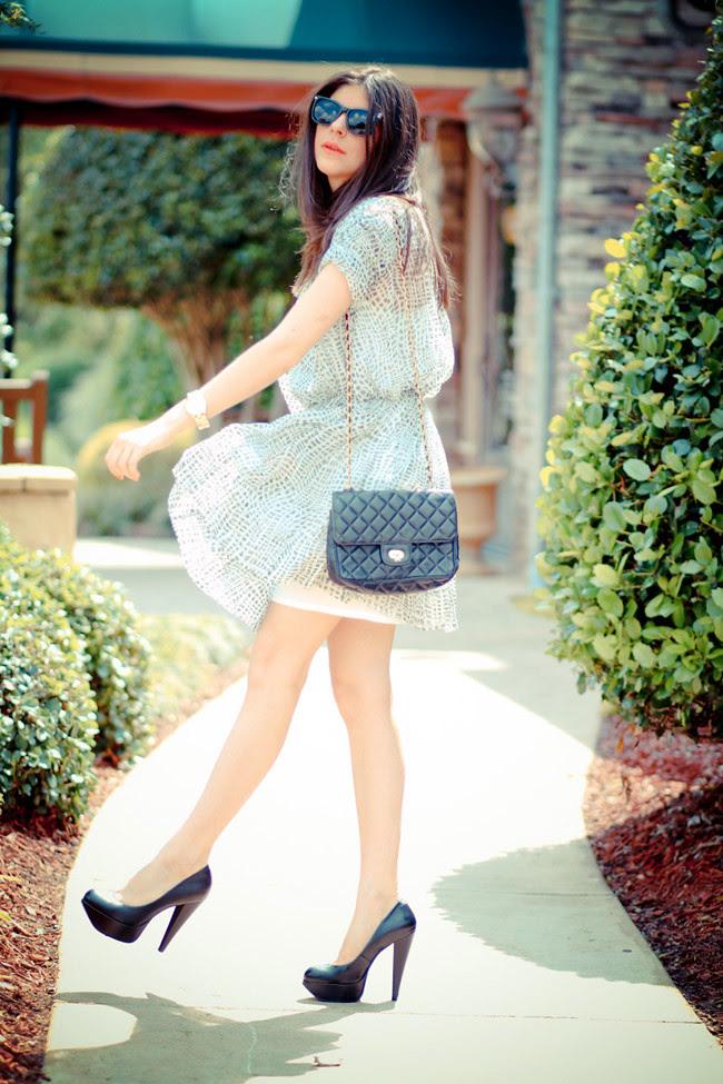 Joie dress, Fashion Outfit, Aldo platform heels, Vintage Chanel bag, Rayban sunglasses