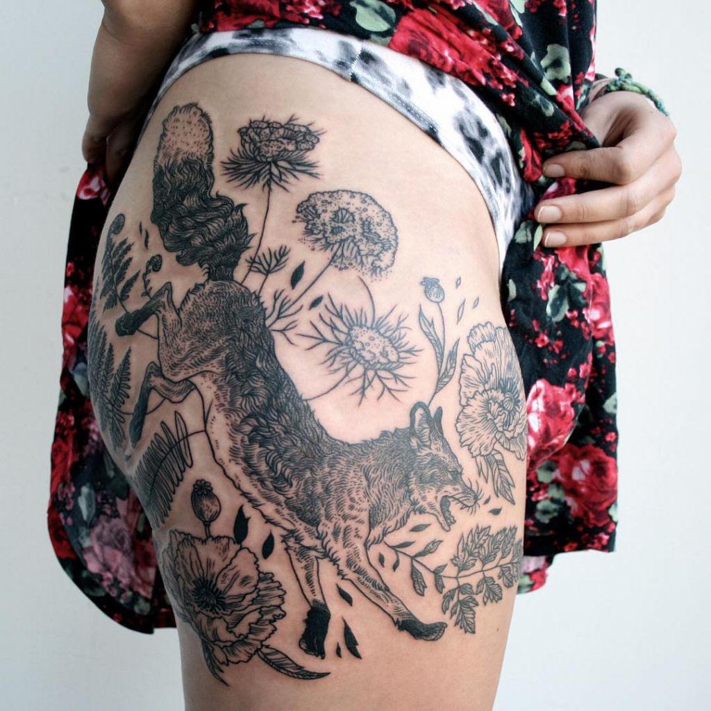 Tatuagens inspiradas na natureza combinam gravuras de estilo vintage de fauna e flora 03