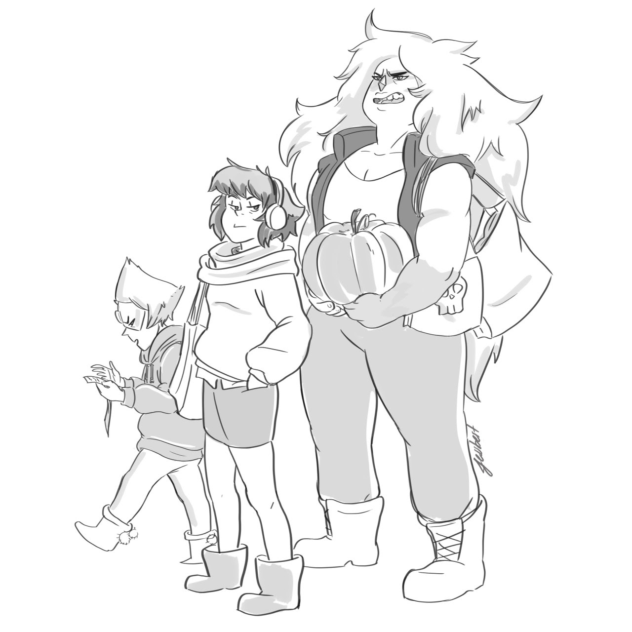 "This is what happened when I said to myself ""hey, let's draw Jasper"" The gang shopping for halloween"