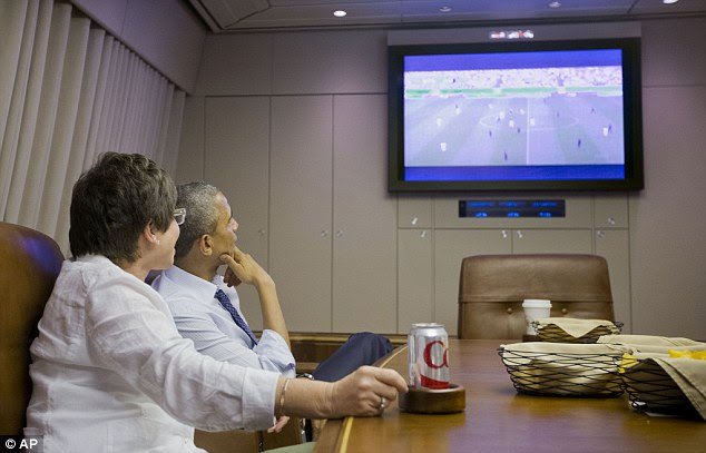 Flying high: Obama watched the game from his airplane as USA progressed to the knockout rounds