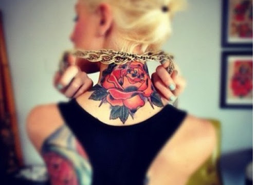 Girl With Red Rose Back Neck Tattoo