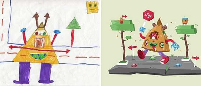 Desenhos de crianças depois de transformados por artistas
