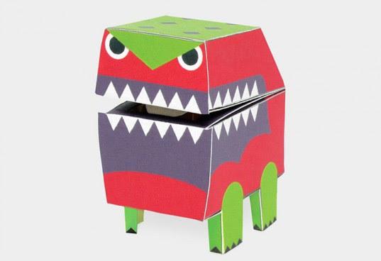 takashi tsunoda monster cubes, diy robot, paper robot, easy robot, how to make a paper robot