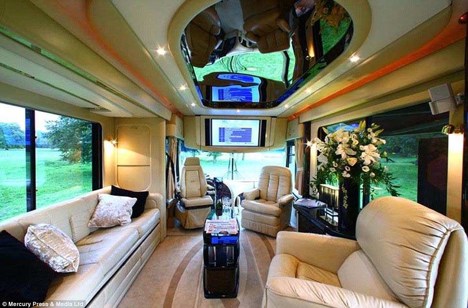 Seven star: The motorhome comes with a team of staff, including a gourmet chef and waiters, who cater to guests' whims around the clock