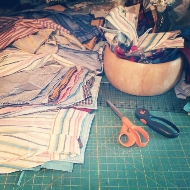 #deconstructing a large batch of #secondhand #buttonup #shirts for #thirdhand dresses