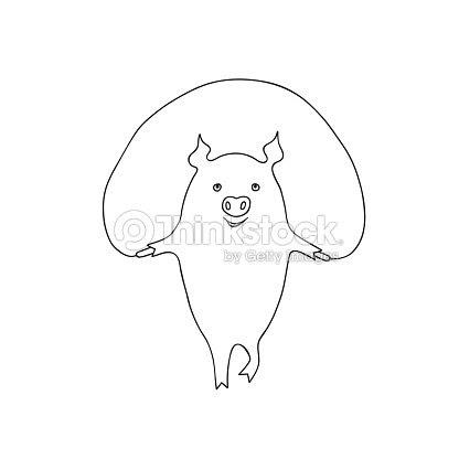 Vector Ilustración De Dibujos Animados Poco Cerdo Ejercicio