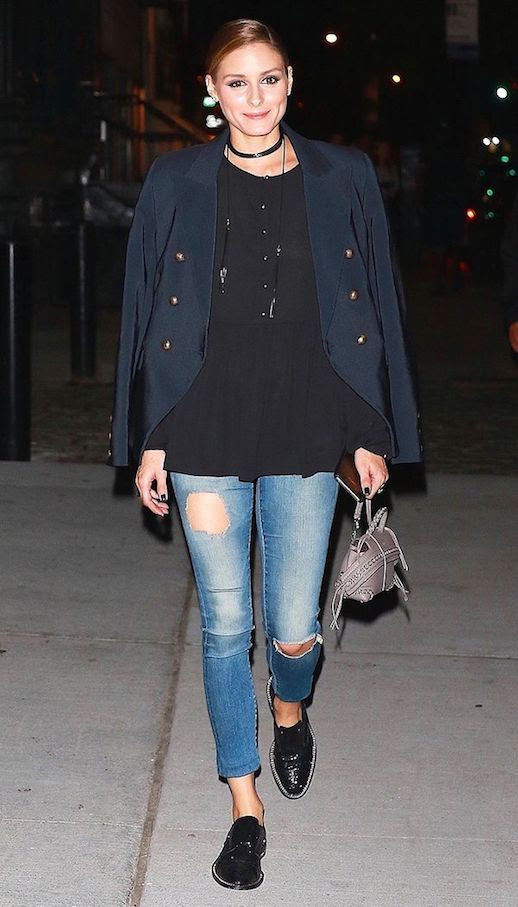 Le Fashion Blog Olivia Palermo Navy Blazer Black Babydoll Distressed Jeans Black Leather Loafers Via Who What Wear