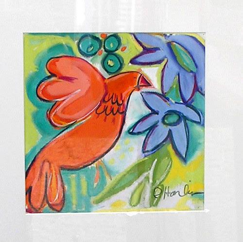 Red Bird, blue flowers