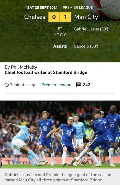 Man City Ends Chelsea Unbeaten Starts In Impressive Display.