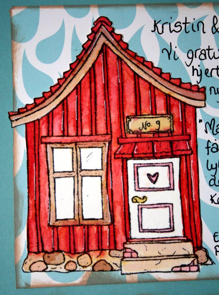 Det fargelagte huset (distresset) i nærbilde, hi-hi! :)