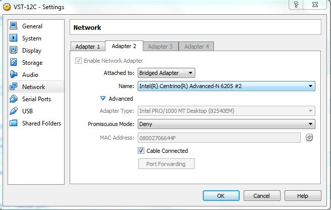VBox Network Adapter Config