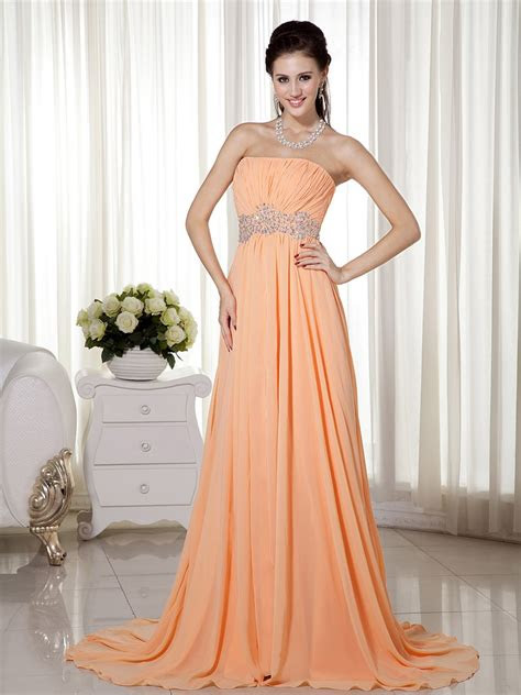 strapless sleeveless apricot orange chiffon celebrity dress