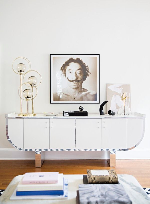 15 Le Fashion Blog -- A Fashionable Home: Laura Naples and Kristen Giorgi of NG Collective -- Domino Magazine By Brittany Ambridge -- Art, Salvador Dali Photo, Vintage Globe Lighting, White and Chrome Console photo 15-Le-Fashion-Blog-Fashionable-Home-Laura-Naples-Kristen-Giorgi-NG-Collective-For-Domino-By-Brittany-Ambridge-White-Chrome-Console.jpg