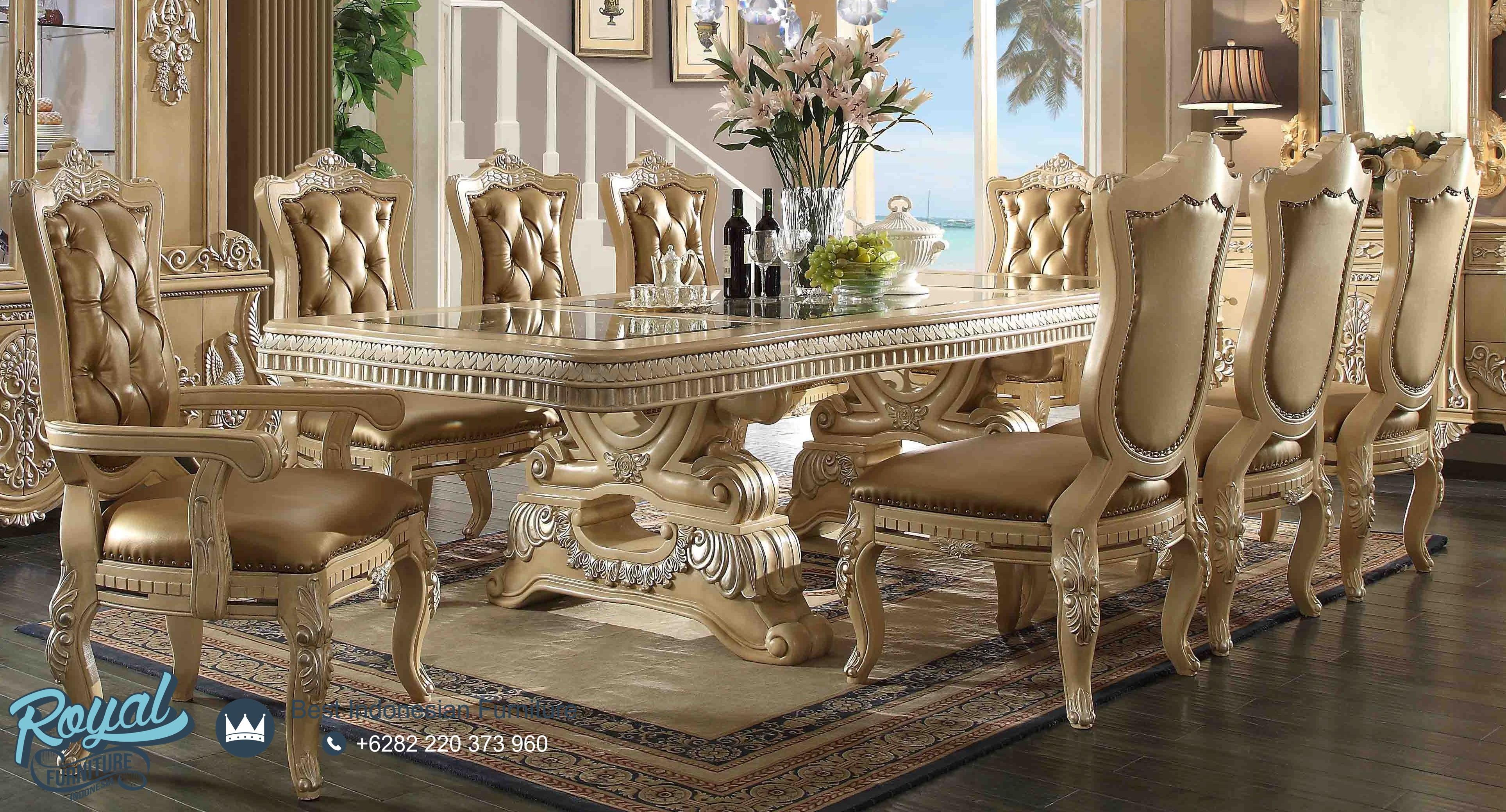 Meja Makan Mewah Model Klasik Set Kursi Makan Terbaru Royal Furniture Jepara