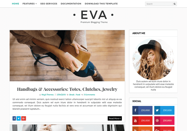 Eva Simple Blogger Template