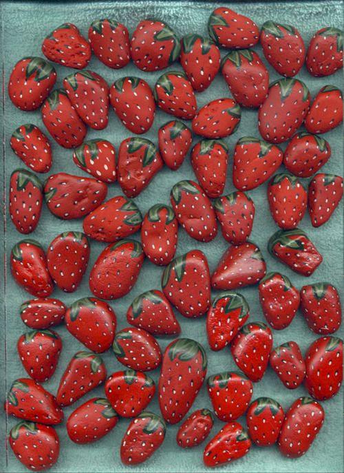 DIY Painted Strawberry Rocks