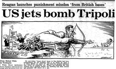 Americký útok na Tripolis, 1986, karikatura, The Guardian