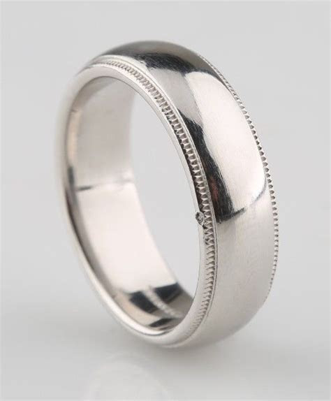 Tiffany & Co Mens Platinum Milgrain Wedding Band Ring 6mm