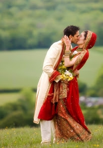 indian husband wife kissing