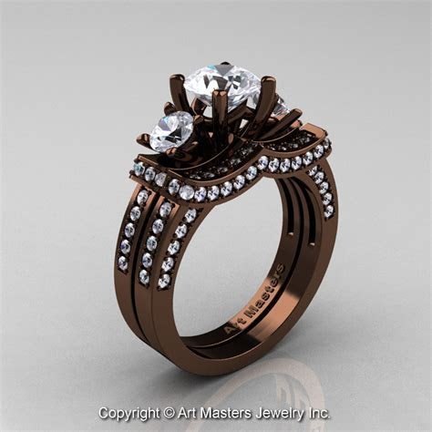 Exclusive French 14K Chocolate Brown Gold Three Stone