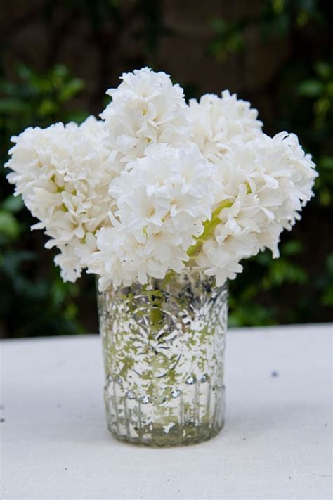Simple White Hyacinth Centerpieces