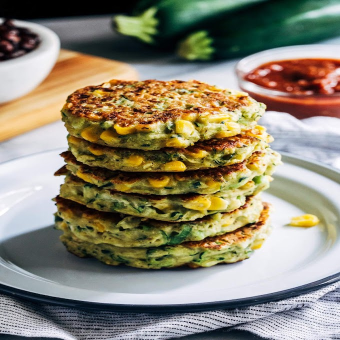 Zucchini and Corn Fritters with Roasted Bell Pepper Sauce Recipe: How to Make Zucchini and Corn Fritters with Roasted Bell Pepper Sauce