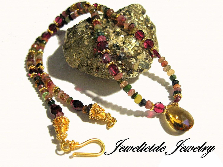 Watermelon Tourmaline Gemstone Necklace, Burgundy, Gold, Vermeil, Garnet