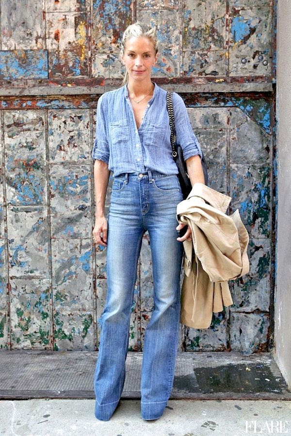Le Fashion Blog Meredith Melling Street Style Denim On Denim Chambray Shirt High Waisted Wide Leg Jeans Via Flare Magazine