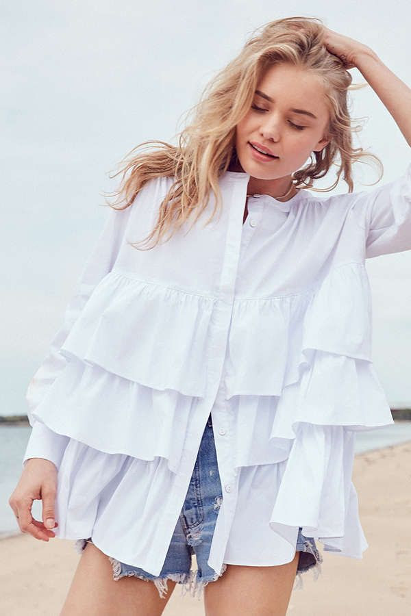Le Fashion Blog 7 Pieces From Urban Outfitters To Purchase Now Kimchi Tiered Blouse Via Urban Outfitters