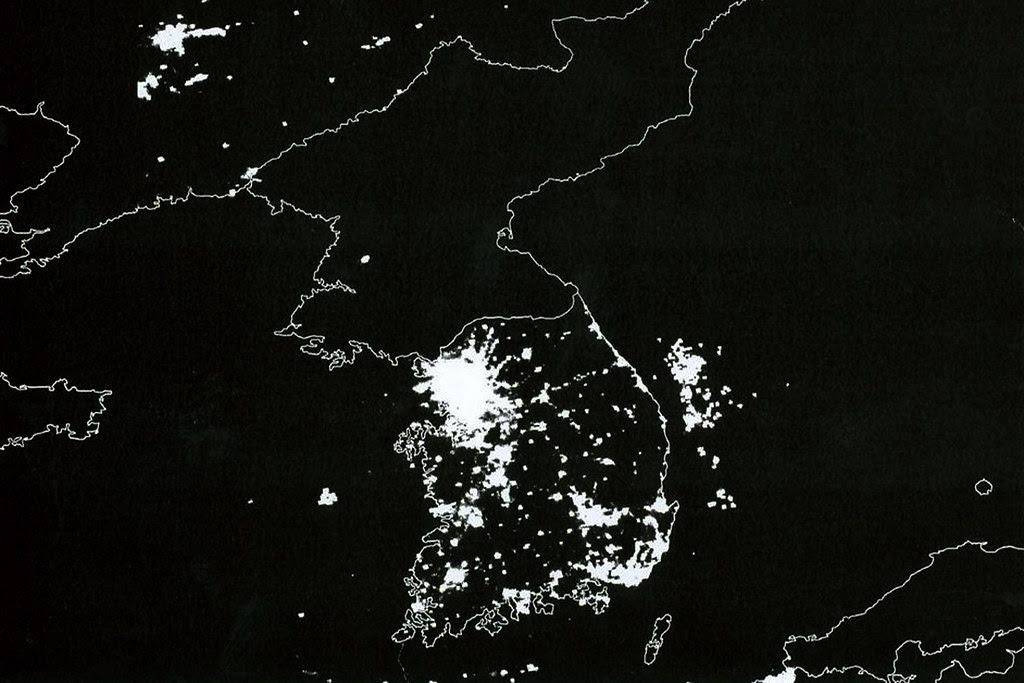 North Korea Satellite View Korean Peninsula At Night