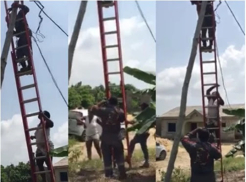 Epic Drama as Angry Woman Attempts to Prevent Electricity Officials from Disconnecting Her Power in Ikorodu (Video)