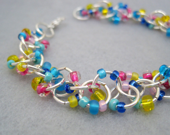 Beaded Bracelet - Silver Links - Blue Yellow Pink by randomcreative on Etsy - randomcreative