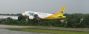 This is a photo of a Cebu Pacific Airbus A319 ...