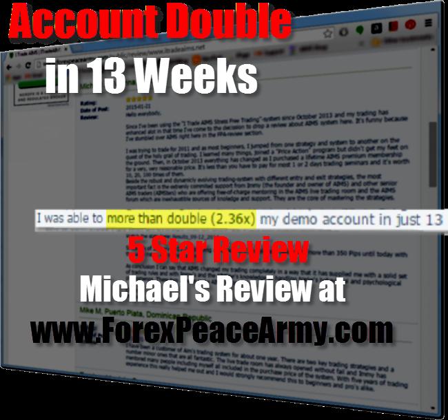 迈克尔在forexpeacearmy com上发表了评论,称他在几周内将自己的帐户翻了一番