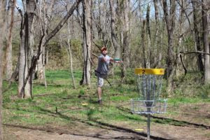 Tournament Director Dustin Olin Plays at Greenfield Disc Golf Course.