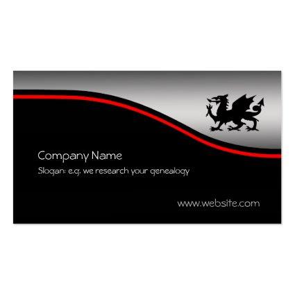 Black Heraldic Dragon, red swoosh, metallic-effect Business Card