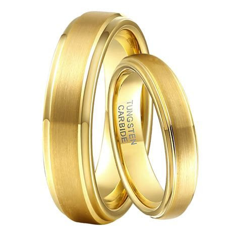 1 Pair 6mm & 4mm Boy & Girls Marriage Rings Set Gold Color
