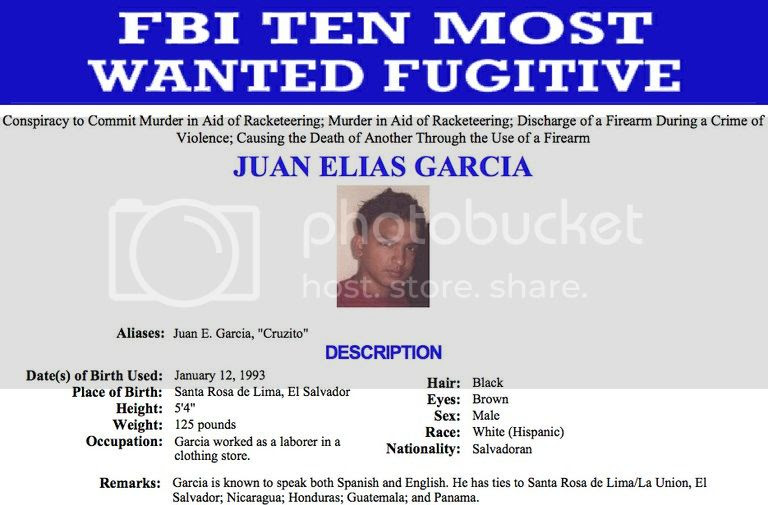 Juan Elias Garcia, #MS13 Member, Named to FBI's Top 10 List