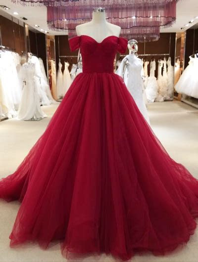Wine Red Off Shoulder Princess Prom Gowns, Tulle Party