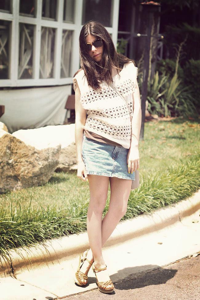 Crochet Top, Karen Walker sunglasses, Notti Espadrille wedges, Bongo denim skirt, Fashion Outfit