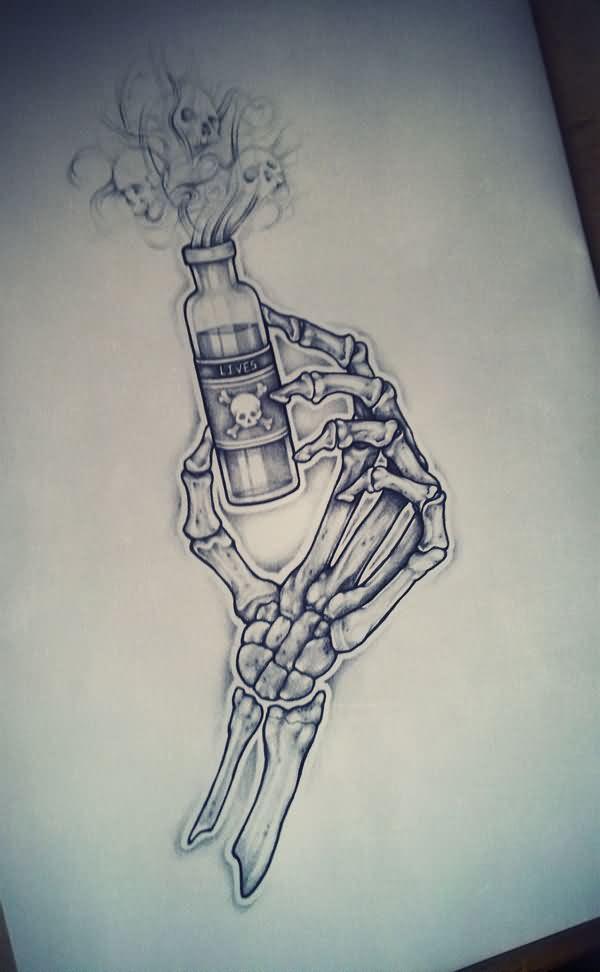 Skeleton Hand With Bottle Tattoos Design