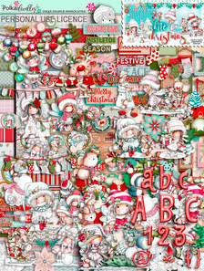 Winnie White Christmas Big Kahuna Download. Over 530 printable digital images for crafting and digital scrapbooking featuring Winnie - an adorable nostalgic girl character. Beautiful digital stamp downloads in black and white, colour, printable papers, coloured toppers, design sheets, embellishments, word art and more, all themed in beautiful snowy scenes with Winnie's Snowy friends, Rudolph, Kitty Cat, Sparkles the Unicorn, Snowy Dog, Polar Bear Henry and her fab penguin friends. Make adorable Christmas Cards, scrapbook pages and journals - make everything you need this Christmas time.