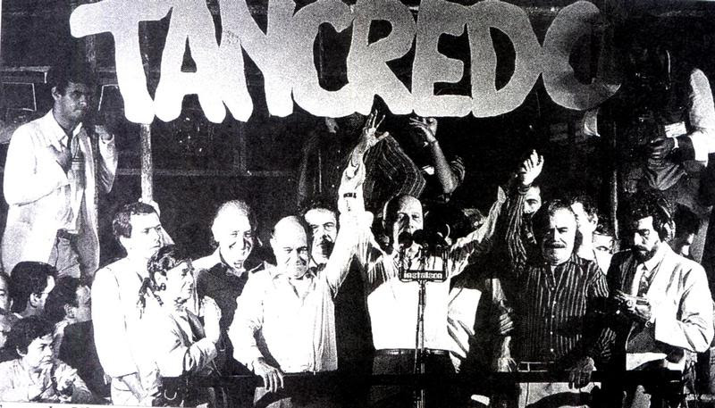 Brazil's Tancredo Neves campaigning before his 1985 election. He was the first democratically elected president in a quarter-century, but died before taking office.