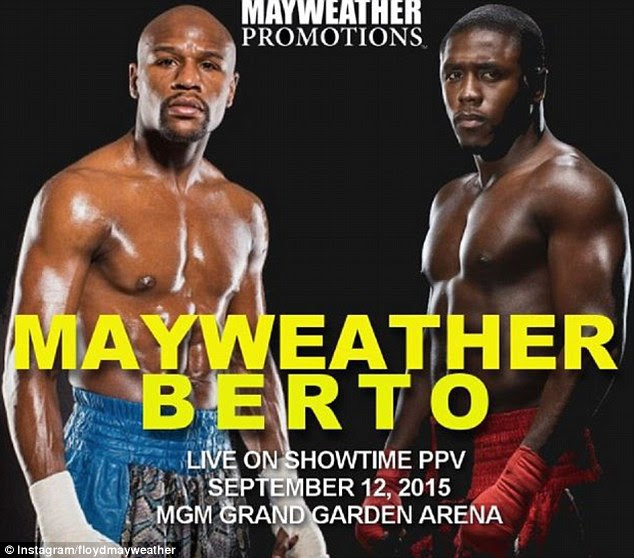 Floyd Mayweather announced on Instagram that Andre Berto will be his 49th opponent in September