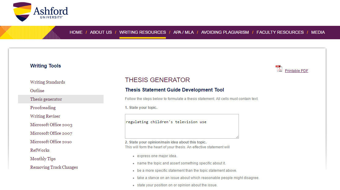 how to make a thesis statement builder