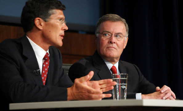 Ken Lewis Bank of America CEO Ken Lewis (R) and Merrill Lynch CEO John Thain attend a press conference at Bank of America headquarters September 15, 2008 in New York City. The pair discussed the recent $50 billion Bank of America takeover of Merrill Lynch.