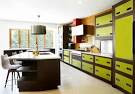 Kitchen Image: Modern Kitchen Set With Brown And Green Colored And ...