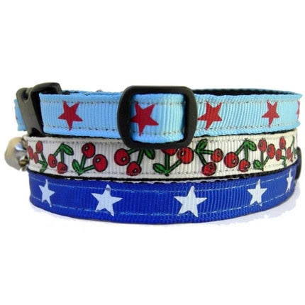 Cat/Ferret Collar with breakaway safety collar and detachable bell. (Pattern- Big Sky Country, Colors-Lone Star, Cherries Jubilee, Wonder Cat)
