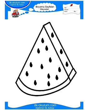 Karpuz Dilimi Boyama Sayfası
