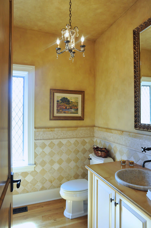French Country Style Powder Room mediterranean powder room